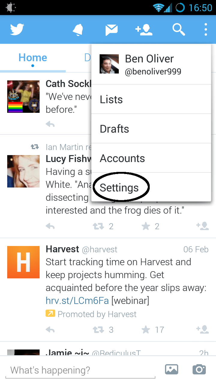 how to turn off notifications on twitter app android